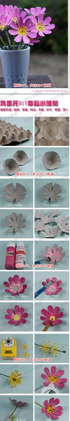 Een super leuke bloem van eierdozen! Alleen is alles in het Chinees... Gelukkig zijn de plaatjes duidelijk!