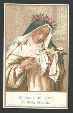 Estampa antigua de Santa Rosa de Lima andanchtsbild santino holy card santini St Rose Of Lima, Vintage Holy Cards, Holi, Painting, Art, Saints, Antigua, Art Background, Painting Art