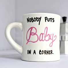 Funny Mug coffee tea cup diner mug black pink white hand painted baby corner Dirty Dancing for her womens by KnotworkShop on Etsy