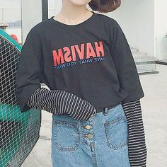#YesStyle - #Manki Letter Mock Two-piece Long-Sleeve T-shirt - AdoreWe.com
