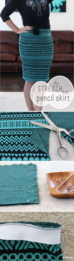 Pencil skirts are classic and prints are very much on trend now. Combine the two for your very own custom DIY stretch knit pencil skirt. Fashion details of clothes. Sewing Hacks, Sewing Tutorials, Sewing Crafts, Sewing Projects, Sewing Patterns, Knitting Patterns, Diy Fashion Projects, Dress Tutorials, Sewing Diy