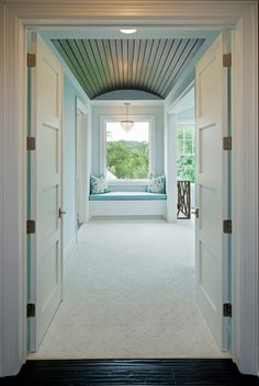 Master Bedroom Door, Double doors open to a master bedroom with barrel ceiling and window seat Grace Hill Design Cottage Style Homes, Beach Cottage Style, Coastal Cottage, Coastal Homes, Beach House, Coastal Decor, Bedroom Door Design, Home Decor Bedroom, Master Bedroom