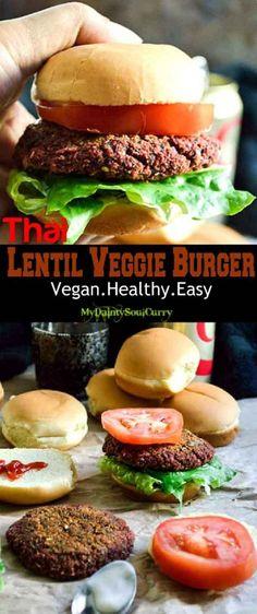 Thai lentil burger with mixed lentils herbs spices #vegan #healthy