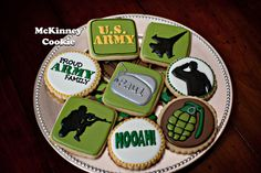 Mckinney Cookie | Page 7 Army Birthday Parties, Army's Birthday, Birthday Cookies, Camo Cookies, Paint Cookies, Military Party, Army Party, Cupcakes, Cupcake Cookies