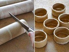 """DIY FAça você mesmo: porta guardanapo de tecido. As """"argolas"""" de papel podem ser revestidas com sisal, tecido, etc."""