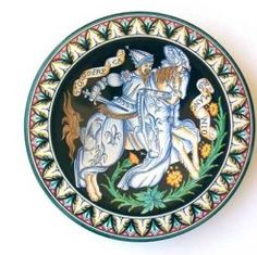 """DECORATIVE PLATE: KNIGHT - CHARLEMAGNE (CHARLES THE GREAT): 12"""" (31cm) Diameter.    This Plate is Drilled for Hanging.    This Piece is hand painted in Deruta"""