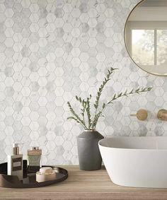 Serac™ Honed Tile x Hexagon Tile Bathroom, Hexagon Mosaic Tile, White Mosaic Tiles, Grey Bathroom Wall Tiles, Toilet Tiles, Bathroom Flooring, Topps Tiles, Bathroom Interior Design, Bathroom Inspiration