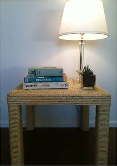 An IKEA LACK table gets a new life after being wrapped in sisal rope. Great idea, but pretty sure it would become a cat scratching post.