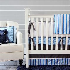 @rosenberryrooms is offering $20 OFF your purchase! Share the news and save!  Blue & Gray Damask Crib Bedding Set #rosenberryrooms