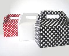 Set of 10 Red Polka Dot Boxes  Black Polka Dot by justalittlefavor, $12.50