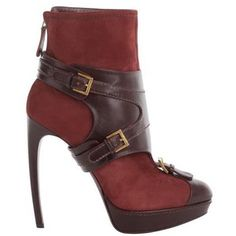 I wish I could actually walk well in shoes like this!   Alexander McQueen Oxblood Stirrup Buckle Boot - Polyvore
