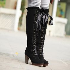 Ribbons Lace Up Platform Knee High Boots High Heels 4140 Lace Up Heel Boots, Black Lace Up Heels, Bow Boots, High Heel Boots, Heeled Boots, Ankle Boots, Platform Boots, Suede Boots, Black Boots