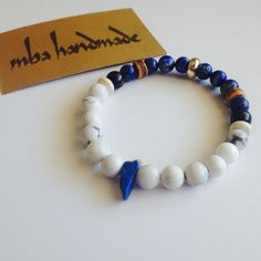 MEN'S NATURAL GEMSTONE VARISCITE HOWLITE LAPIS BEADED BRACELET CRYSTAL HEALING #MBAHandmade #Beaded