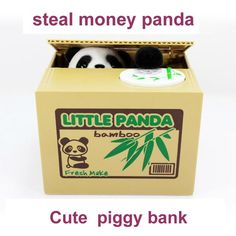 2017 New Cute Panda Automatic Stole Coin Piggy Bank Size Money Saving Box Moneybox Gifts Gag Novelty toys for kids FSWOB