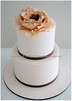 Mocha Peony Wedding Cake, Modern Floral Wedding Cakes, Wedding Flower Cakes Sydney by EliteCakeDesigns Sydney- love it!!!