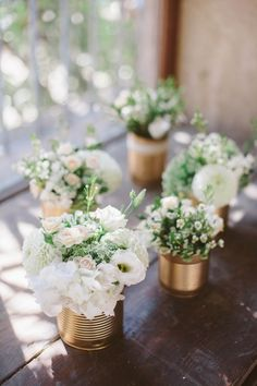 Une belle fête de mariage dans le Sud Center table with golden cans (only a few pink powdery flowers are missing) Gold Wedding, Wedding Table, Diy Wedding, Wedding Flowers, Wedding Day, Wedding Bouquet, Deco Floral, Beautiful Flowers, White Flowers