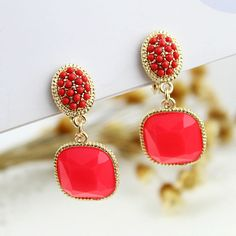 Fashion Lovely Candy Color Gold plated Beads Pendent Alloy Clip Earrings for Women US $1.97
