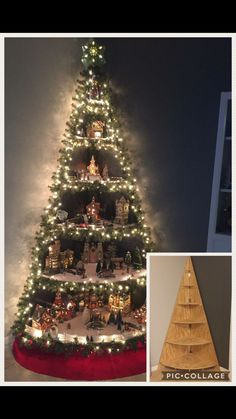 Christmas Decorations for the Garden How to Diy Christmas Tree Village Stand Free Video Tutorial S Creative Christmas Trees, Wood Christmas Tree, Noel Christmas, Christmas Projects, Winter Christmas, Holiday Crafts, Christmas Ornaments, Corner Christmas Tree, Christmas Tree Stand Diy