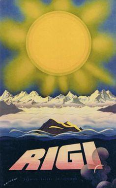 Poster by Martin Peikert / Rigi / 1957