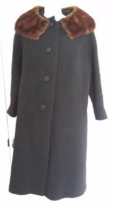 Womens Vintage Wool Coat sz L Designer Michel Daniel Mink Collar Long Button #Formal