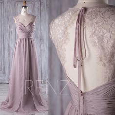 2017 Rose Gray Lace Chiffon Bridesmaid Dress von RenzRags auf Etsy