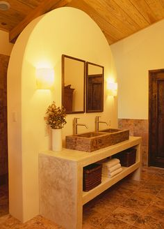 Hacienda Style. I like this kind of sink and counter for my bathroom. I only need one sink though and then rest can be counter space