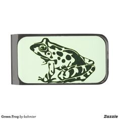 Green Frog Gunmetal Finish Money Clip