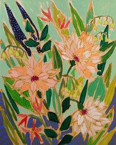 Lulie Wallace Flowers For Victoria Flower Bouquet Drawing, Flower Art, Fantastic Art, Awesome Art, Bohemian Flowers, Happy Flowers, Learn To Paint, Pattern Art, Cool Art
