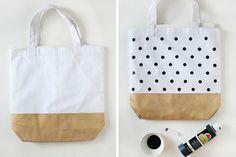 DIY bridesmaid gift painted canvas tote bags