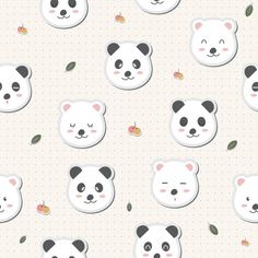 Cute Adorable Panda White Bears Cartoon Seamless Pattern Wallpaper Download Thousands Of Free Vectors On