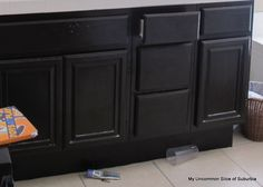 Step by Step tutorial on painting oak cabinets