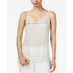 Bar Iii Bead-Striped Double-Strap Top, ($70) ❤ liked on Polyvore featuring tops, egret combo, beaded top, white top, layered tops, bar iii tops and white beaded top