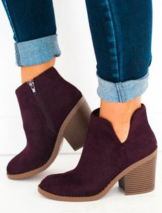 95f261223ad Willa Perforated Bootie Burgundy
