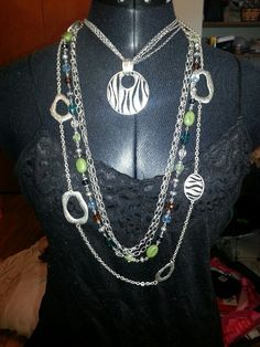 Premier Designs zebra enhancer and necklace with costa rica necklace
