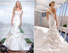 this dress has a strapless neckline, a sheath silhouette, a one shoulder bodice, and a floort length hemline :)