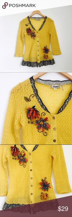 Lulumari cardigan Lightweight cardigan in yellow/mustard with flower appliques and contrasting trim. Acrylic and polyester. Size M. Anthropologie Sweaters Cardigans