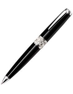 Jorg Gray Ballpoint Pen with Swarovski Crystal Band - Textured Pen Case