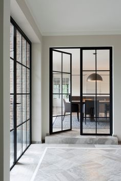 Natural Stone by Stonewest French Doors Inside, Black French Doors, Inside Doors, French Doors Patio, Patio Design, House Design, Open Plan Kitchen Dining Living, Steel Doors And Windows, Dream Master Bedroom