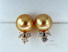HS 10mm Golden South Sea Cultured #Pearl & #Diamond .63ctw #Stud #Earrings 14KYG Top #FreeShipping #Jewelry