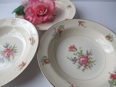 Vintage Homer Laughlin Priscilla Pink Floral Soup by thechinagirl