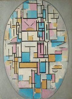 Reproduction de Mondrian, Composition En Ovale Avec Des Champs De Couleurs. Tableau peint à la main dans nos ateliers. Peinture à l'huile sur toile.