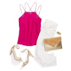 Go bright for girls' night! Wear your saturated hues with crisp white & light neutrals to make them pop. #StylistTip