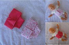 Lot de 2 couches tons roses et blancs pour poupon de 30 cm MCL Poupées, vêtements pour les poupées et les poupons