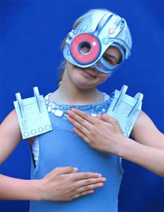 This scary cyborg printable colour in 3D paper masks are ideal for: Costume, dress up parties, classroom fun, home school, decorations, party ideas and activities.
