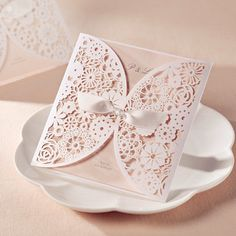 affordable romantic laser cut blush pink lace wedding invitation EWWS001