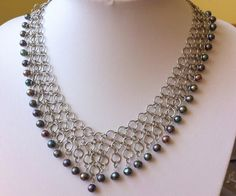 Steel necklace with freshwater pearls by IronLaceDesign on Etsy