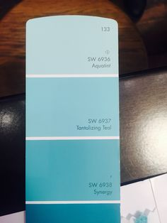 Three of the walls in Jenna's room are aquatint and one is Tantalizing Teal. These were from the Sherwin Williams PB Teen collection. Teal Paint, Room Paint Colors, Paint Stain, Girls Bedroom, Bedroom Ideas, Pb Teen, New Room, Growing Up, Color Schemes