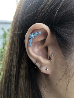 b98233eaa CZ turquoise 5 flower garland SCREW flat back for conch earring, cartilage  earring, helix