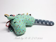 Stick Horse Baby Rattle Plush Toy Turquoise with Dots by RBQuery