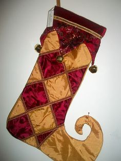 "19"" Victorian Christmas Holiday Xmas Stocking Jester Bells New!"